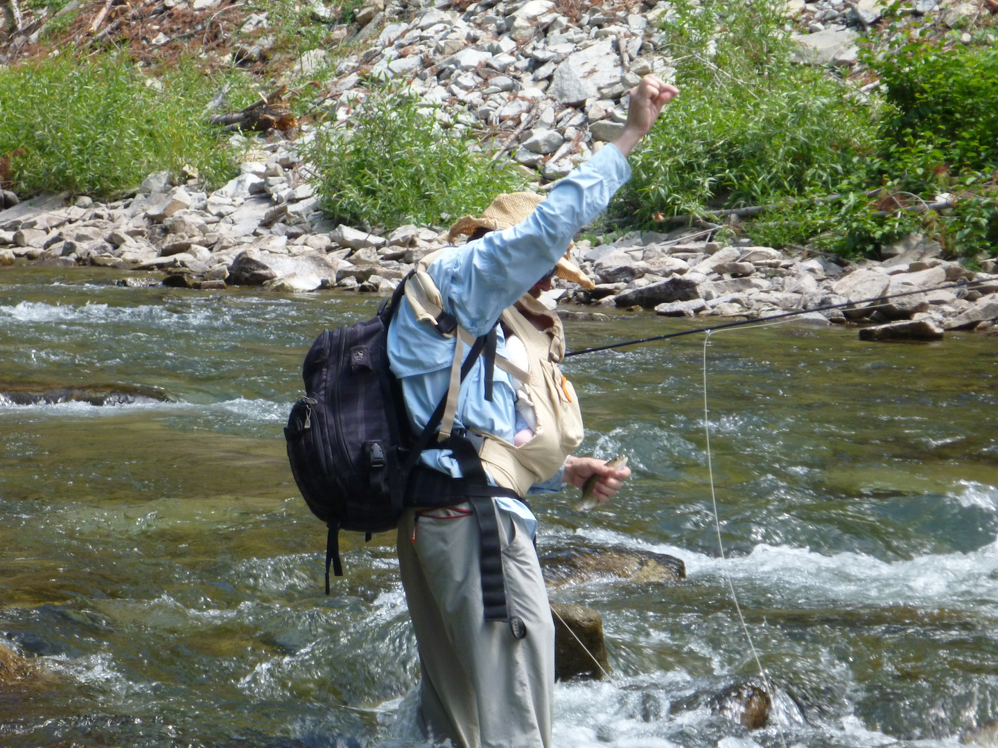 The pack works great, but it can be tricky to unhook fish/tie on flies/jump in the river with it on.
