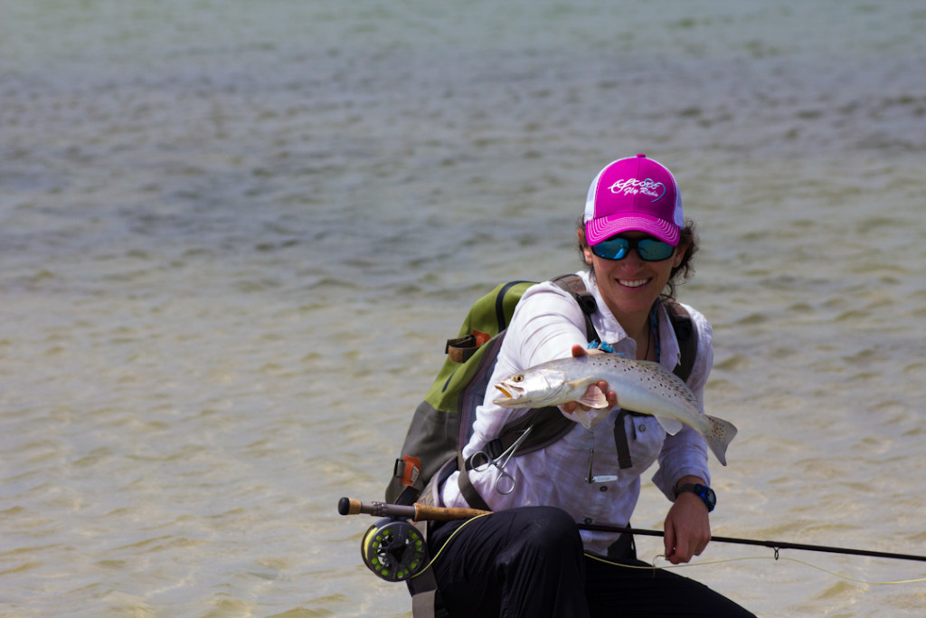 Aimee with a nice speckled trout on the Texas flats.